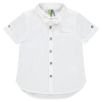 Chemise manches courtes en coton avec noeud papillon amovible ... feee25a5497