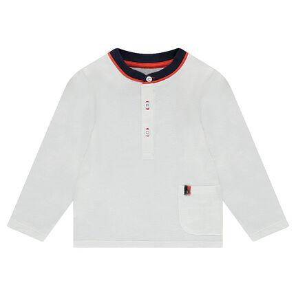 Tee-shirt manches longues en jersey avec col fantaisie et poche