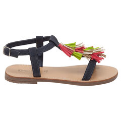 Nu-pieds à pompons colorés