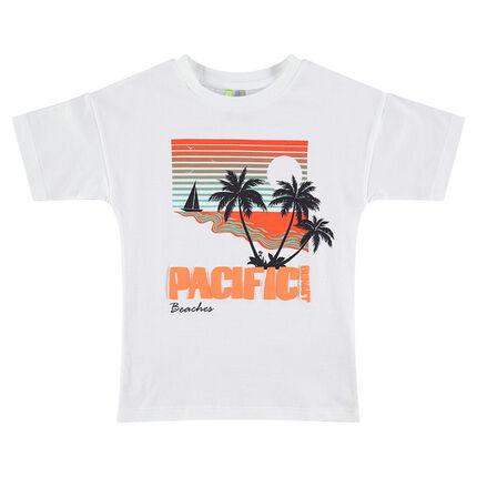 Tee-shirt manches courtes avec paysage et palmier printés