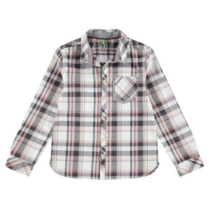 Chemise en coton manches longues à carreaux