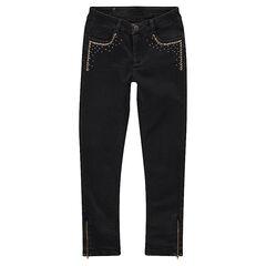 Junior - Jeans effet used slim avec clous fantaisie