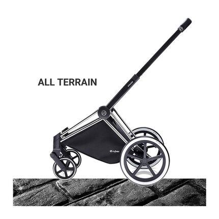 Châssis poussette Priam roues tout terrain - Chrome