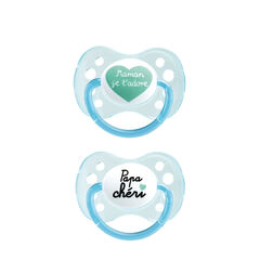 Lot de 2 sucettes duo silicone – Papa/maman