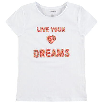 Junior - T-shirt manches courtes en jersey avec message en perles fantaisie