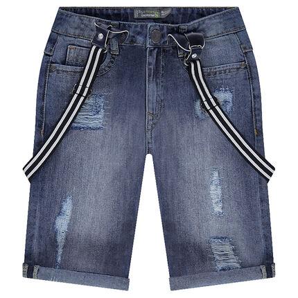 Bermuda en jeans effet used avec bretelles amovibles