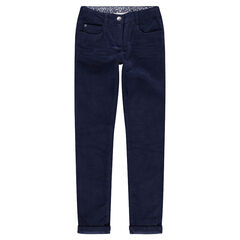 Junior - Pantalon en velours bleu marine uni effet crinkle
