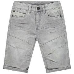 Bermuda en jean effet used à découpes