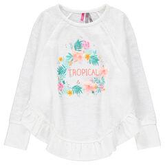 Tee-shirt manches longues en jersey avec imprimé floral et volant