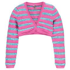 Junior - Gilet court manches longues en tricot bicolore rayé