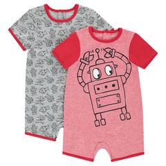 Lot de 2 combinaisons courtes en jersey print robots