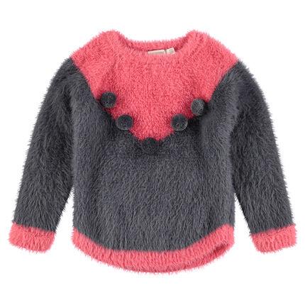 Pull en tricot poil bicolore avec pompons