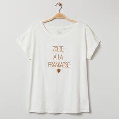 T-shirt de grossesse manches courtes à message brodé , Prémaman