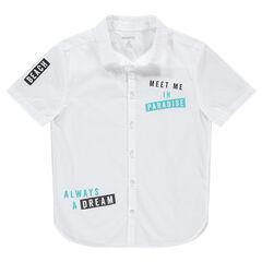 Junior - Chemise manches courtes avec inscriptions printées