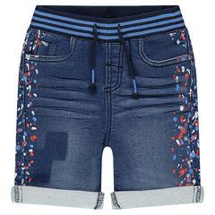 Bermuda en molleton effet jeans used avec taches colorées