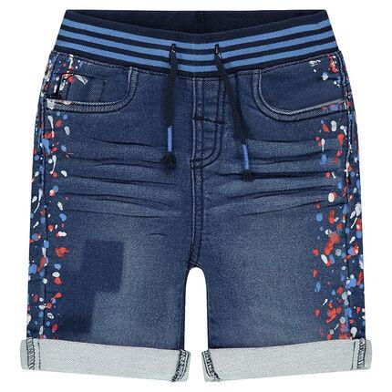 afea935ba93a3 Bermuda en molleton effet jeans used avec taches colorées - Orchestra FR