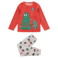 Pyjama en velours avec sapin et cadeaux Noël