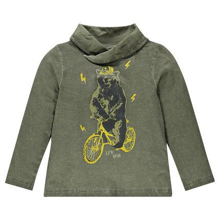 Tee-shirt manches longues à col croisé et print ours à vélo
