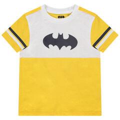 T-shirt manches courtes en coton bio bicolore print logo Batman