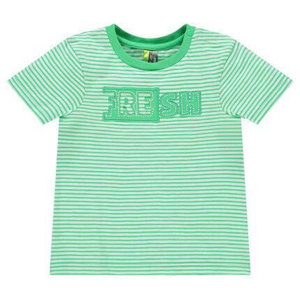 Tee-shirt manches courtes avec rayures all-over et inscription patchée