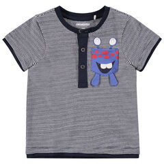 Tee-shirt manches courtes rayé avec monstre printé