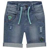 Bermuda en jeans effet used avec badges patchés