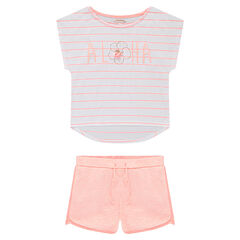 Junior - Ensemble avec tee-shirt rayé et short en jersey chiné