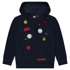 Junior - Gilet à capuche en molleton avec badges et broderies