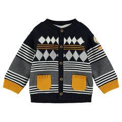 Gilet en tricot doublé sherpa avec motif en jacquard