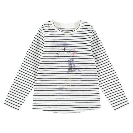 Tee-shirt manches longues à rayures all-over avec silhouette printée