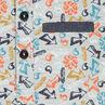 Polo manches longues en piqué de coton imprimé avec touches de chambray
