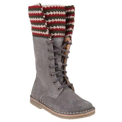 Bottes grises en cuir avec lacets et col tricot