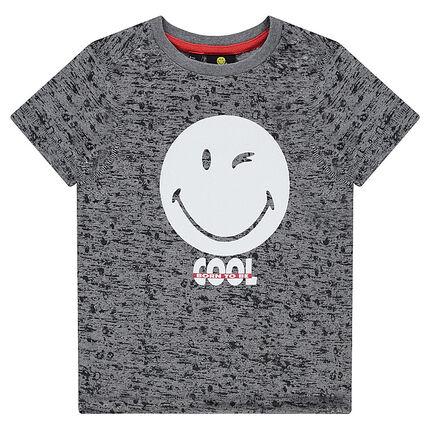 Tee-shirt manches courtes en jersey chiné avec print ©Smiley