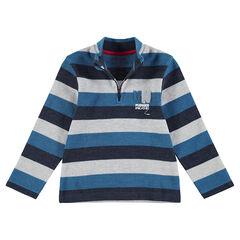Tee-shirt manches longues en rib avec col zippé et lettres en bouclette