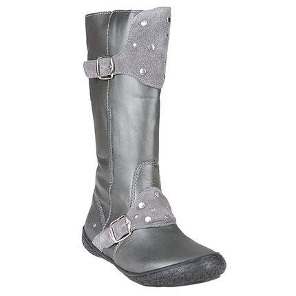 Bottes grises en cuir avec boucles et rivets