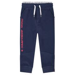 Pantalon de jogging en molleton fantaisie et inscription printée