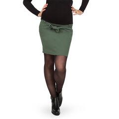 Jupe courte de grossesse avec ceinture à nouer kaki