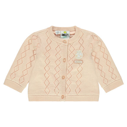 Gilet en tricot fantaisie avec badge ©Smiley Baby
