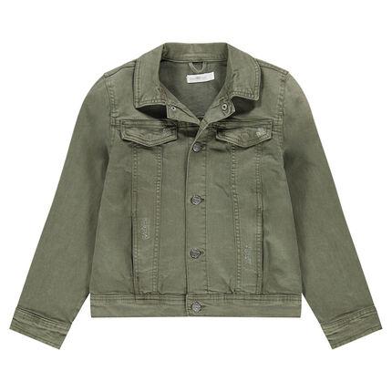 Junior - Veste en jeans surteint vert kaki avec poches