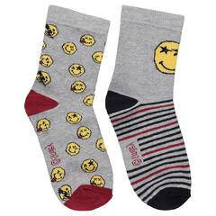 Lot de 2 paires de chaussettes assorties avec ©Smiley en jacquard
