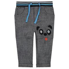 Pantalon en chambray avec détails patchés et ceinture élastiquée