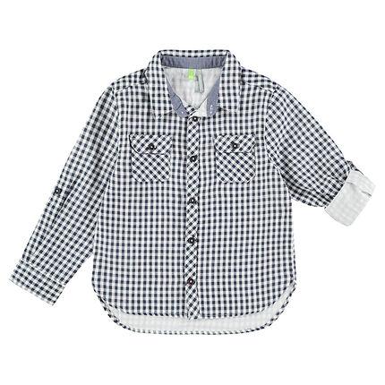 Chemise manches longues à carreaux vichy avec poches