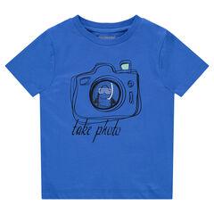 Tee-shirt manches courtes en jersey avec appareil photo printé