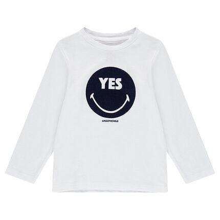 Tee-shirt manches longues en jersey avec ©Smiley en velours