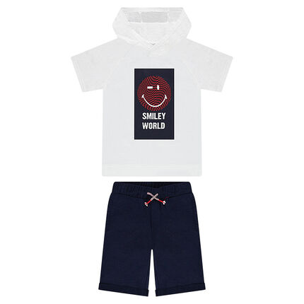 Junior - Ensemble avec tee-shirt à capuche ©Smiley et bermuda en coton