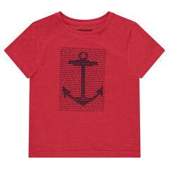 Tee-shirt manches courtes en jersey uni avec print fantaisie