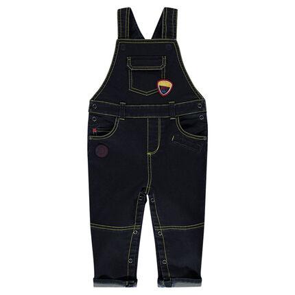Salopette longue en jeans avec poches et badges