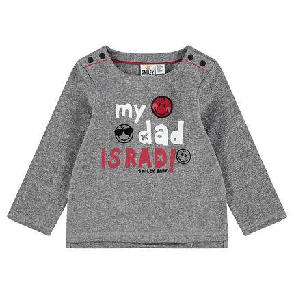 Tee-shirt en jersey chiné avec message printé et badges ©Smiley