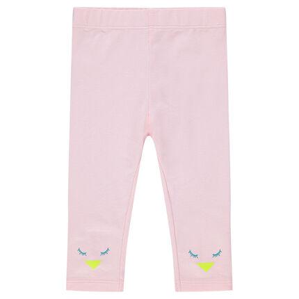 Legging en jersey rose avec détails oiseau printés