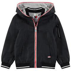 Junior - Coupe-vent uni à capuche avec doublure en jersey chinée